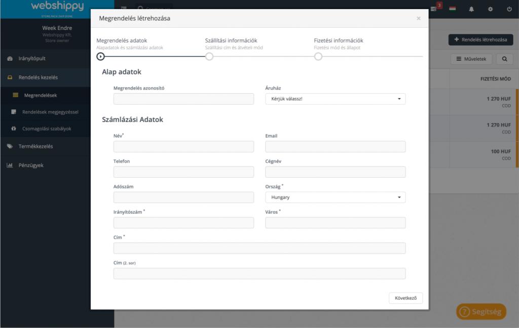 Új megrendelés létrehozása a Webshippy rendszerében