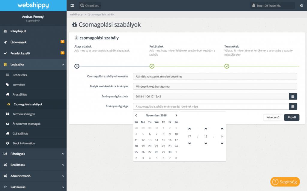 Webshippy csomagolási szabályok screenshot